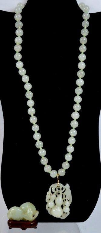 2 - Antique Chinese White Jades; Toggle & Pendant