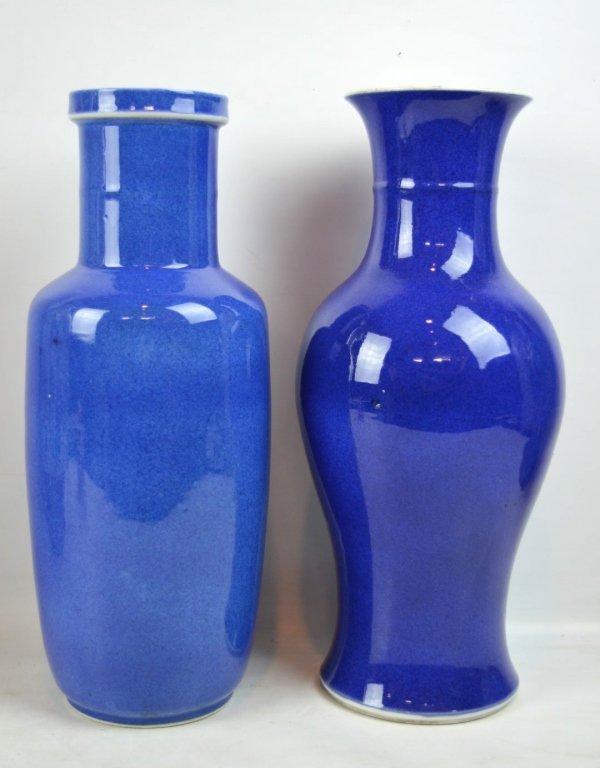 2 - 19th C Chinese Powdered-Blue Porcelain Vases