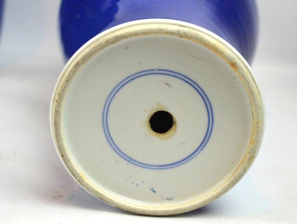 2 - 19th C Chinese Powdered-Blue Porcelain Vases - 5