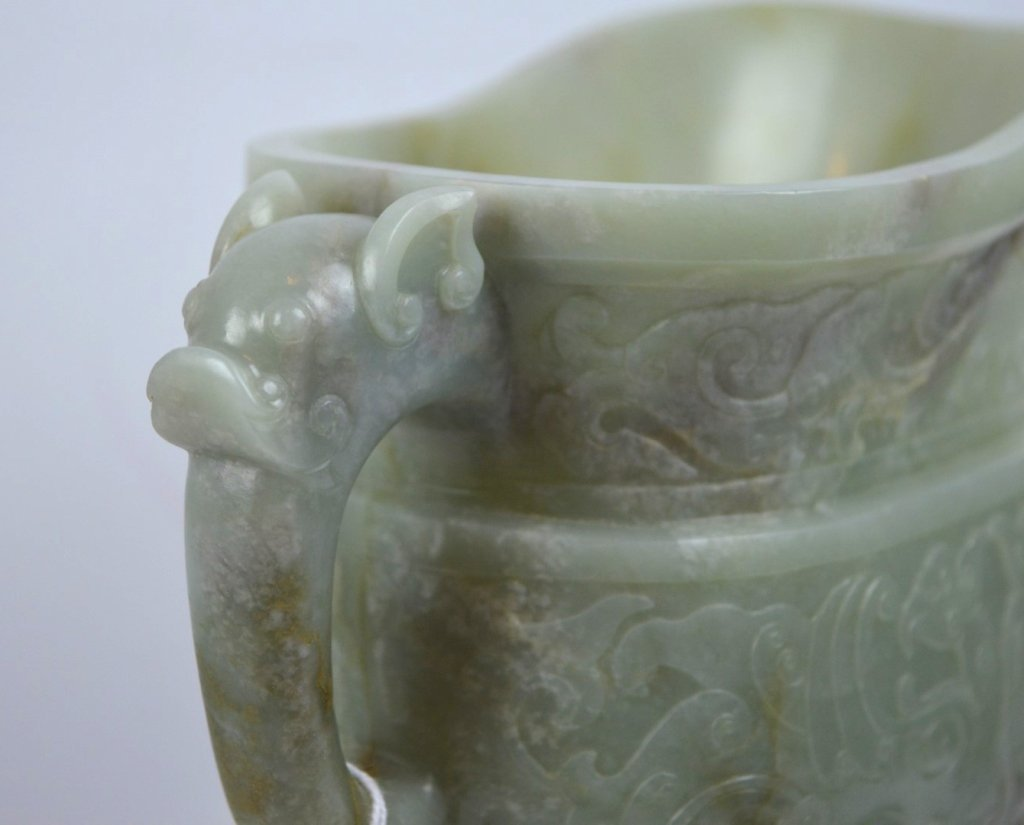 Large Antique Chinese Carved Jade Archaic Vessel - 5