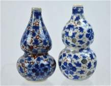 2  19th C Chinese Double Gourd Porcelain Snuffs