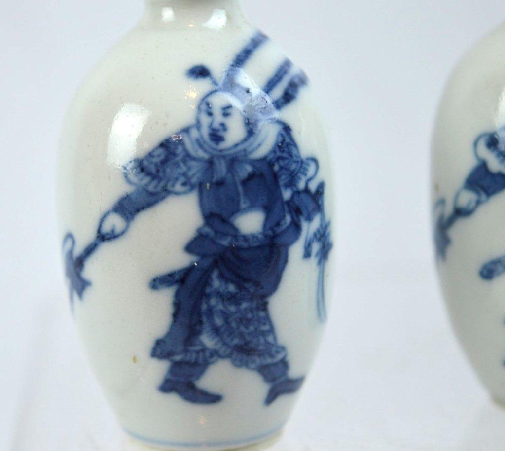 2- 19th C Chinese Underglaze Blue Porcelain Snuffs - 2