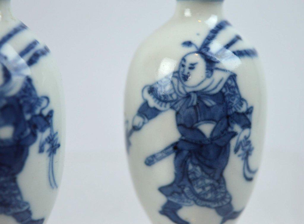 2- 19th C Chinese Underglaze Blue Porcelain Snuffs - 3