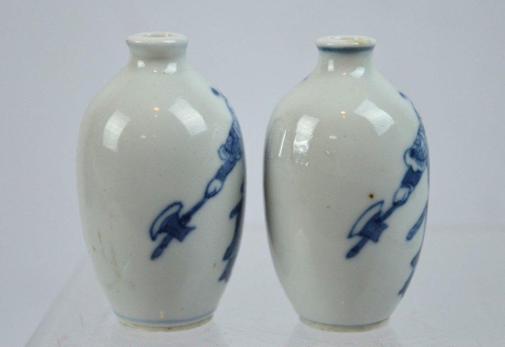2- 19th C Chinese Underglaze Blue Porcelain Snuffs - 4