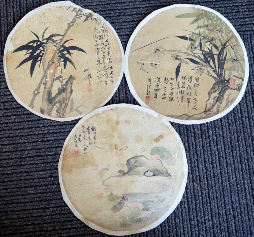 3 - Round Chinese Color & Ink Paintings on Silk
