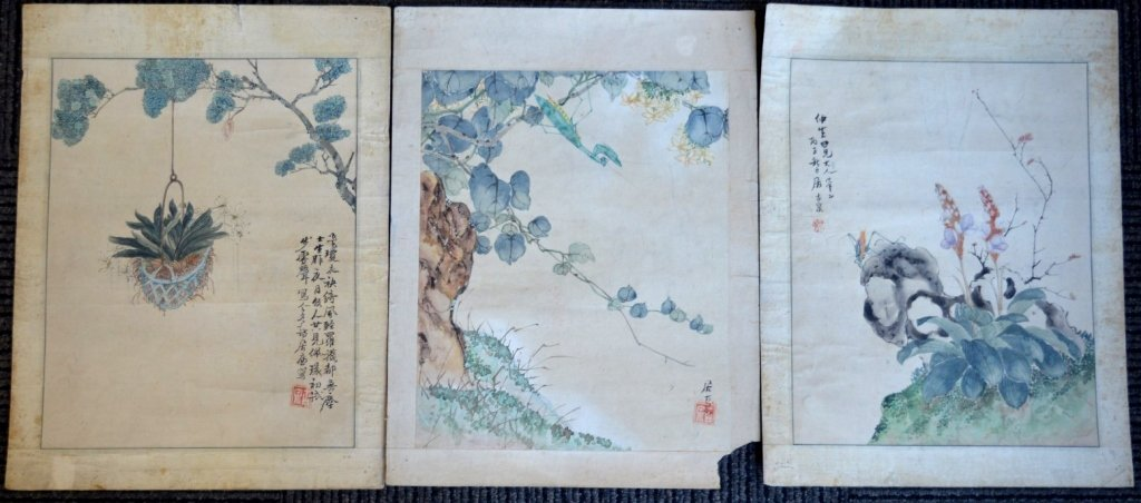 3- Chinese Color & Ink Paintings of Flowers & Bugs