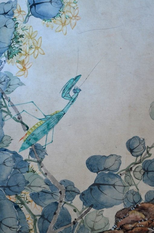 3- Chinese Color & Ink Paintings of Flowers & Bugs - 5