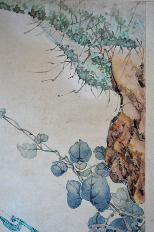 3- Chinese Color & Ink Paintings of Flowers & Bugs - 6