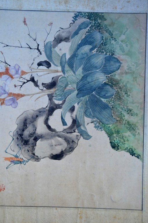 3- Chinese Color & Ink Paintings of Flowers & Bugs - 8