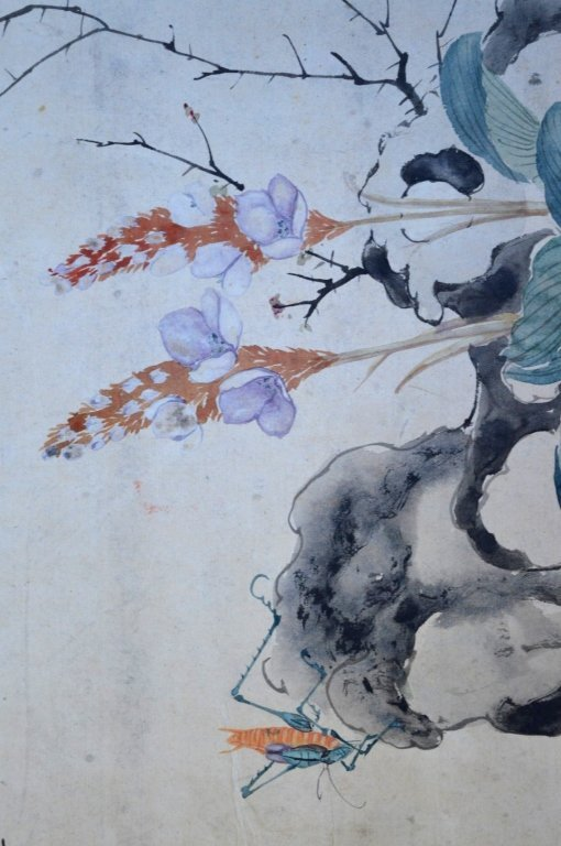 3- Chinese Color & Ink Paintings of Flowers & Bugs - 9