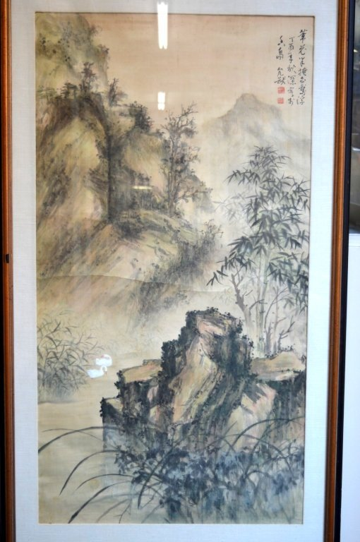 Chinese Landscape in the Rain Painting in Ink