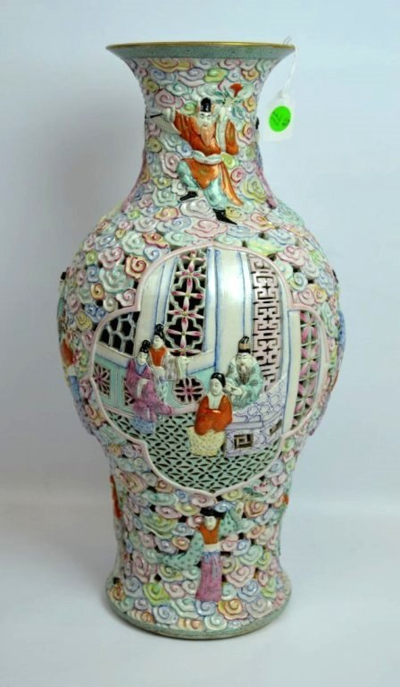 Large Chinese Famille Rose Double Wall Vase