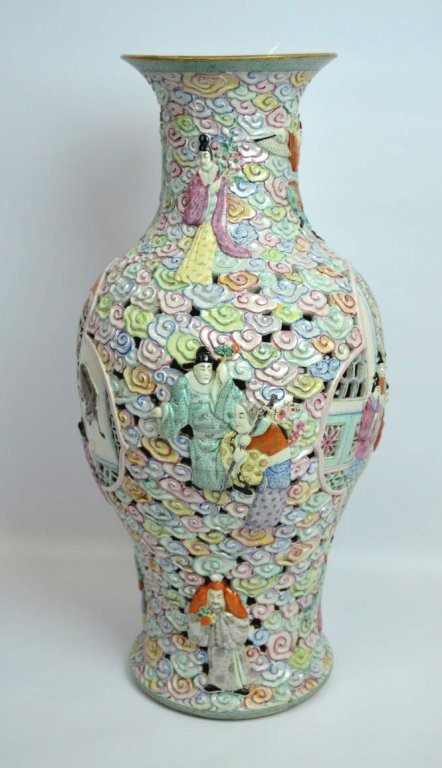 Large Chinese Famille Rose Double Wall Vase - 2