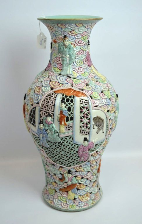 Large Chinese Famille Rose Double Wall Vase - 3