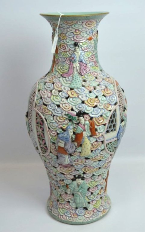 Large Chinese Famille Rose Double Wall Vase - 4