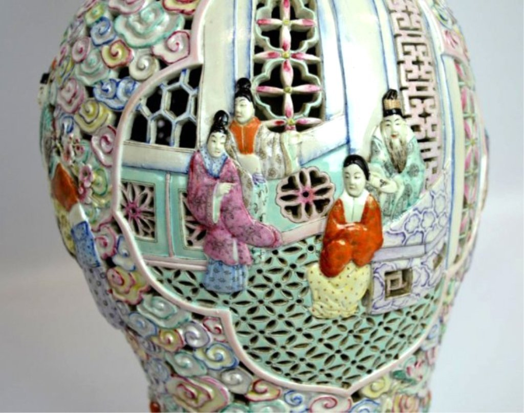 Large Chinese Famille Rose Double Wall Vase - 5