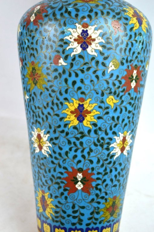 Large & Heavy 18th/19th C Chinese Cloisonne Vase - 5