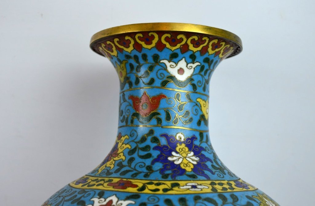 Large & Heavy 18th/19th C Chinese Cloisonne Vase - 6