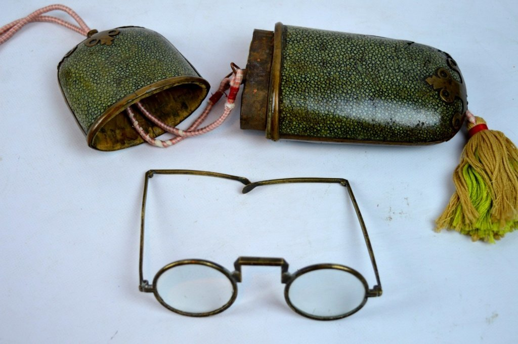 Pair of Old Chinese Bronze Eyeglasses & Case