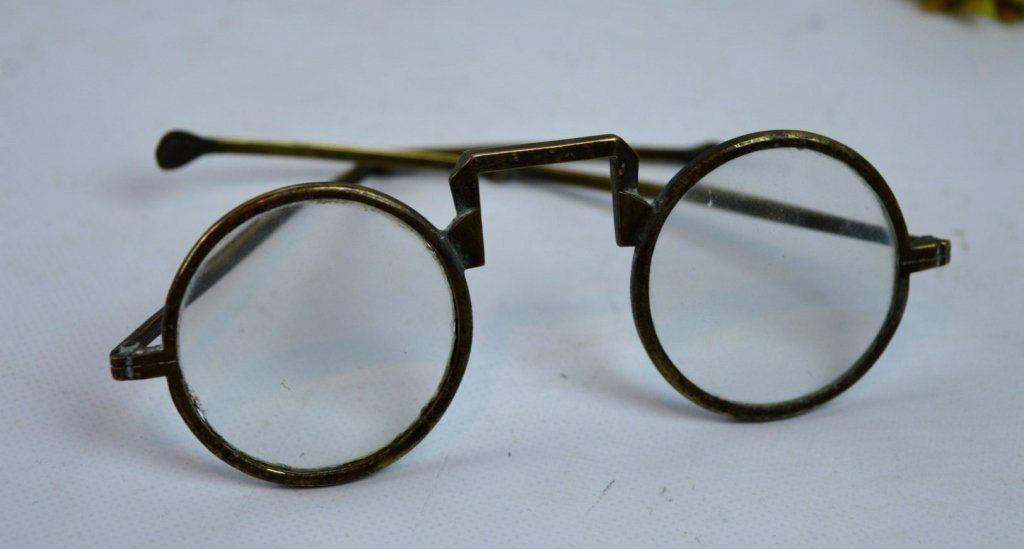Pair of Old Chinese Bronze Eyeglasses & Case - 2