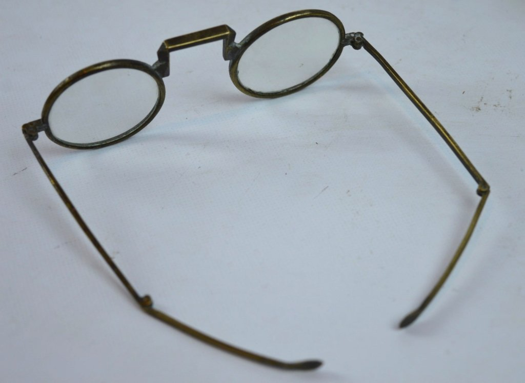 Pair of Old Chinese Bronze Eyeglasses & Case - 3