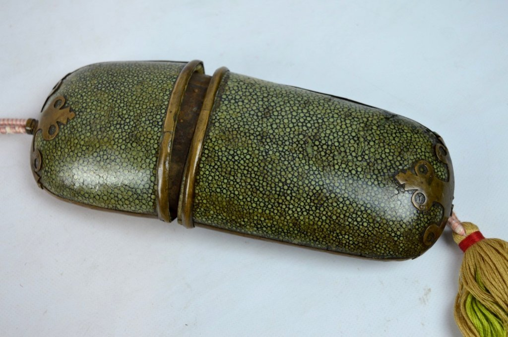 Pair of Old Chinese Bronze Eyeglasses & Case - 4