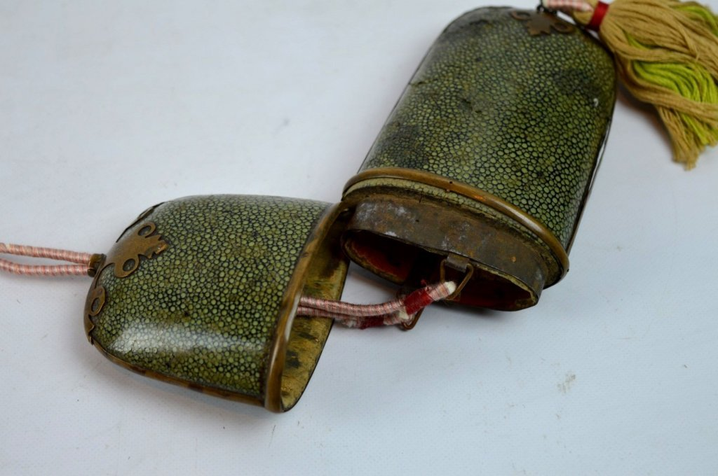 Pair of Old Chinese Bronze Eyeglasses & Case - 5