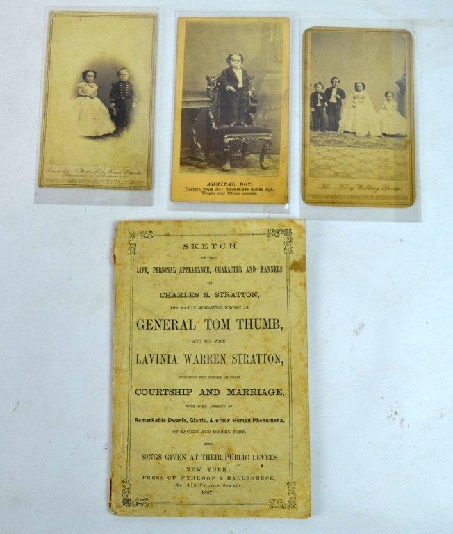 "3 - Rare Autographed ""Tom Thumb"" CDV's & Book"