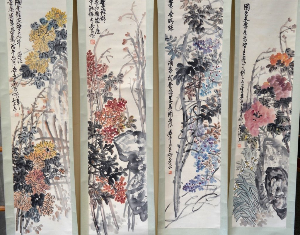 4- Chinese Color & Ink on Paper; Flowers 4 Seasons