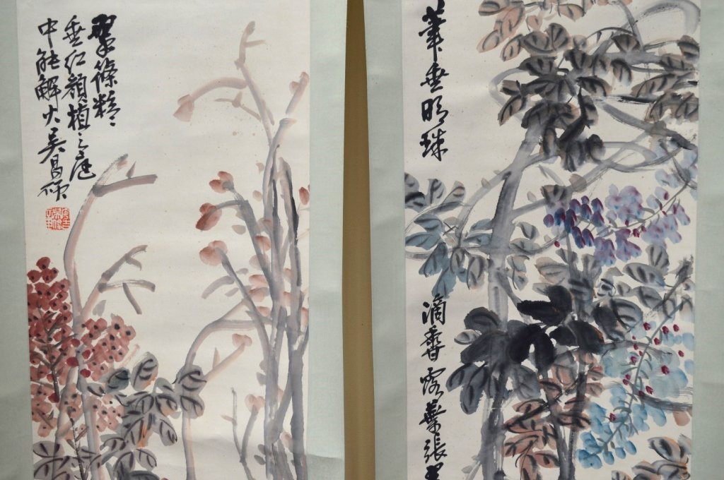 4- Chinese Color & Ink on Paper; Flowers 4 Seasons - 5
