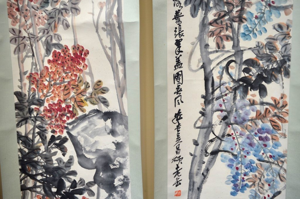 4- Chinese Color & Ink on Paper; Flowers 4 Seasons - 6