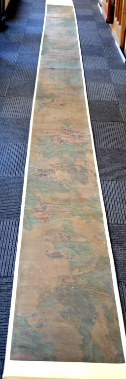 Long Chinese Historical Handscroll on Silk