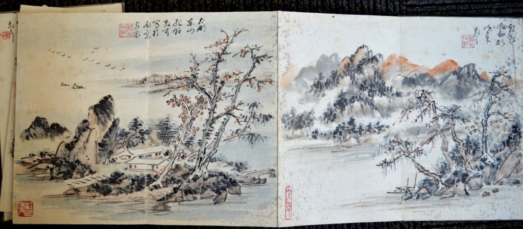12 Double Chinese Album Paintings with Inscription - 3