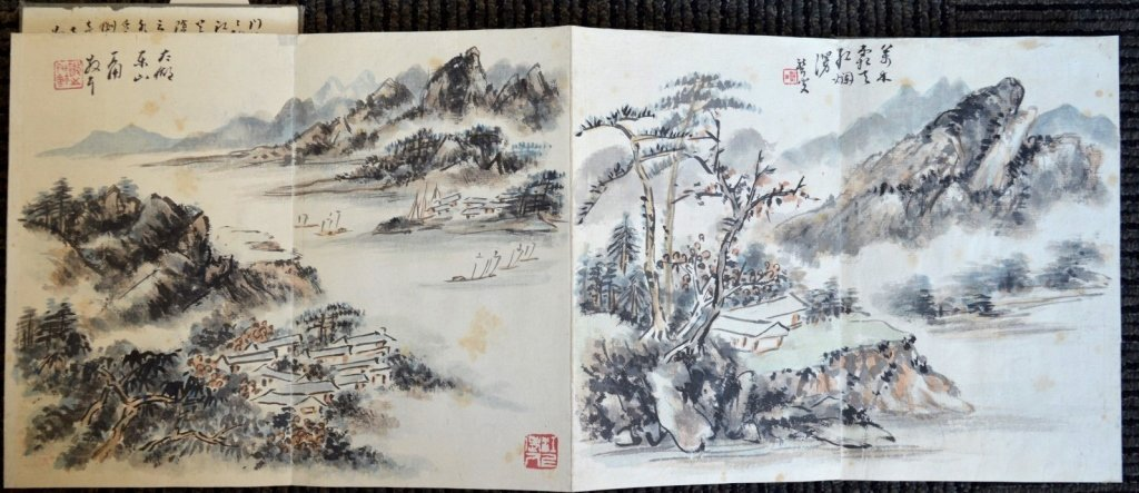 12 Double Chinese Album Paintings with Inscription - 4
