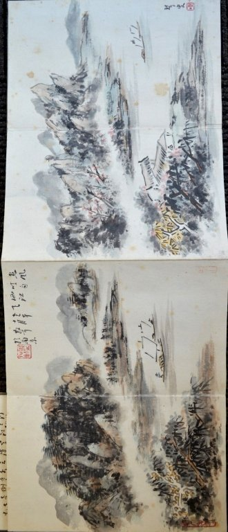 12 Double Chinese Album Paintings with Inscription - 5
