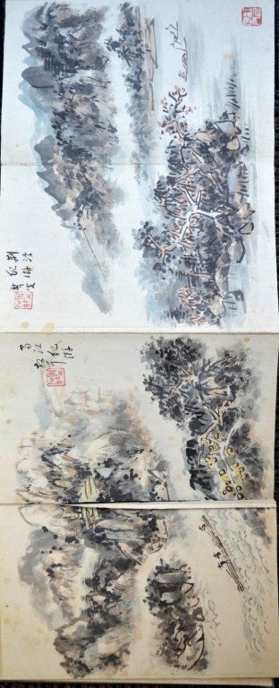 12 Double Chinese Album Paintings with Inscription - 6