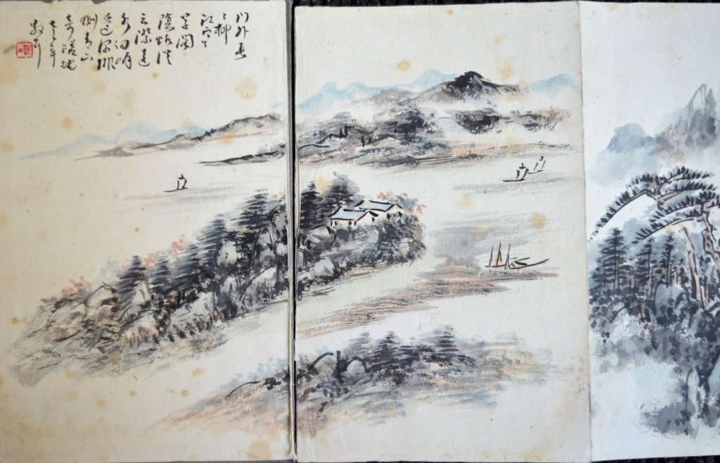 12 Double Chinese Album Paintings with Inscription - 7