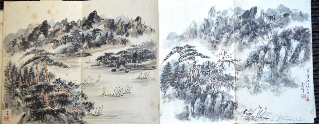 12 Double Chinese Album Paintings with Inscription - 8