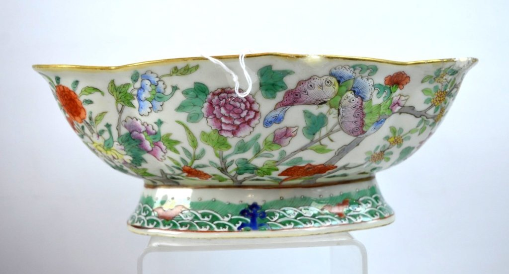 19th C Chinese Enameled Porcelain Footed Bowl - 2