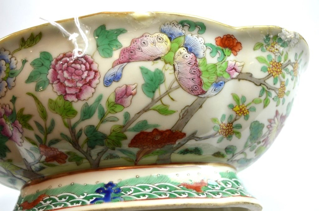 19th C Chinese Enameled Porcelain Footed Bowl - 3