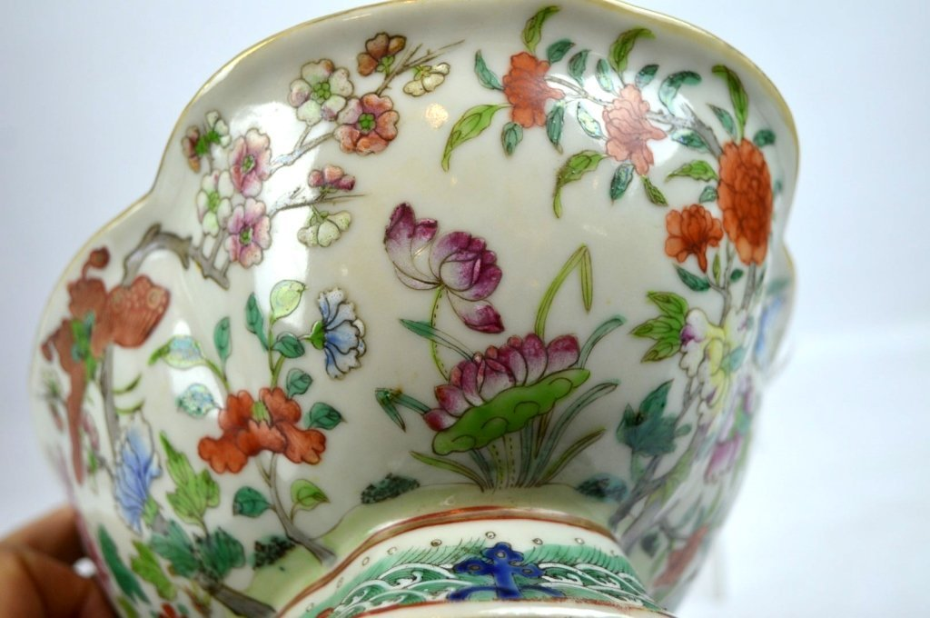 19th C Chinese Enameled Porcelain Footed Bowl - 4