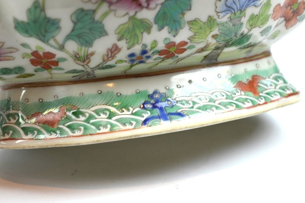 19th C Chinese Enameled Porcelain Footed Bowl - 6