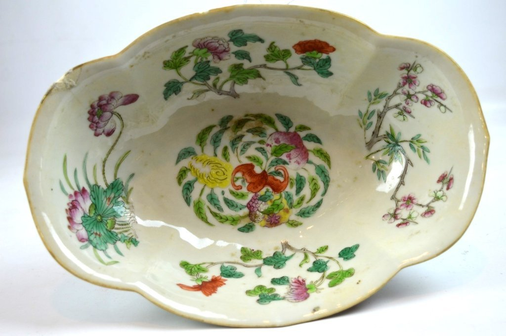 19th C Chinese Enameled Porcelain Footed Bowl - 7