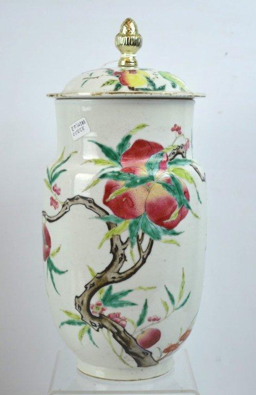 Chinese Enameled Porcelain 9-Peach Vase
