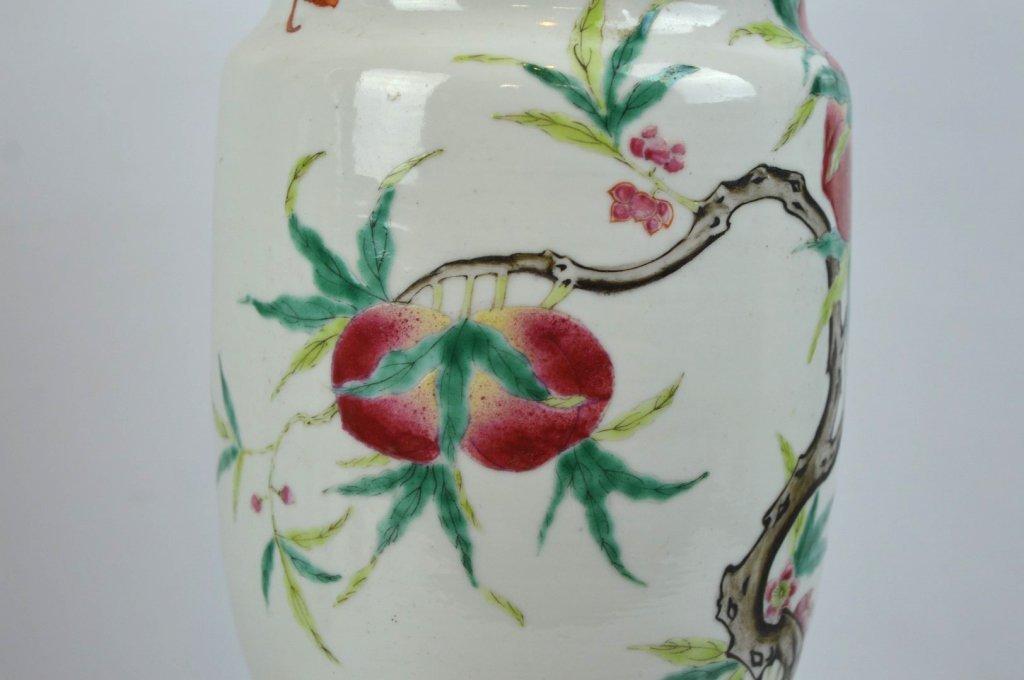 Chinese Enameled Porcelain 9-Peach Vase - 2
