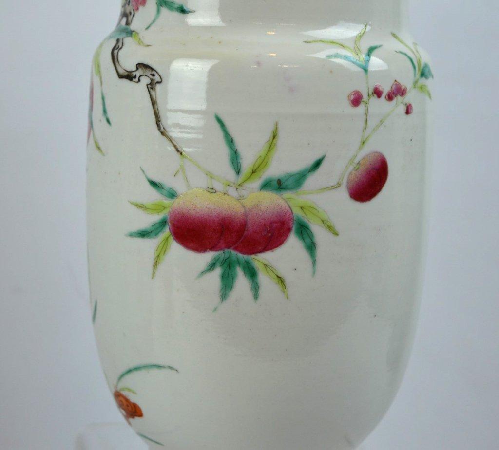 Chinese Enameled Porcelain 9-Peach Vase - 3
