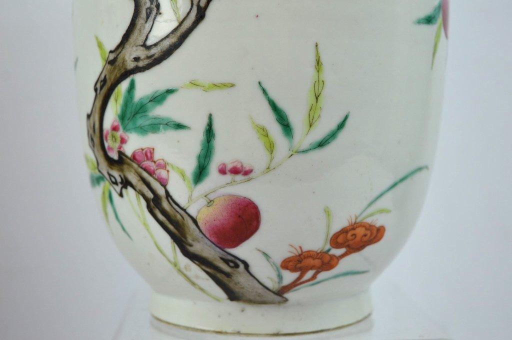 Chinese Enameled Porcelain 9-Peach Vase - 4