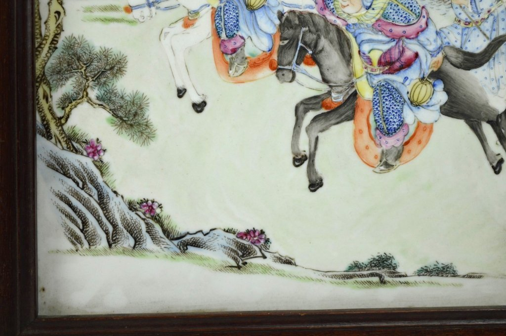19th C Chinese Enameled Porcelain Warrior Plaque - 4