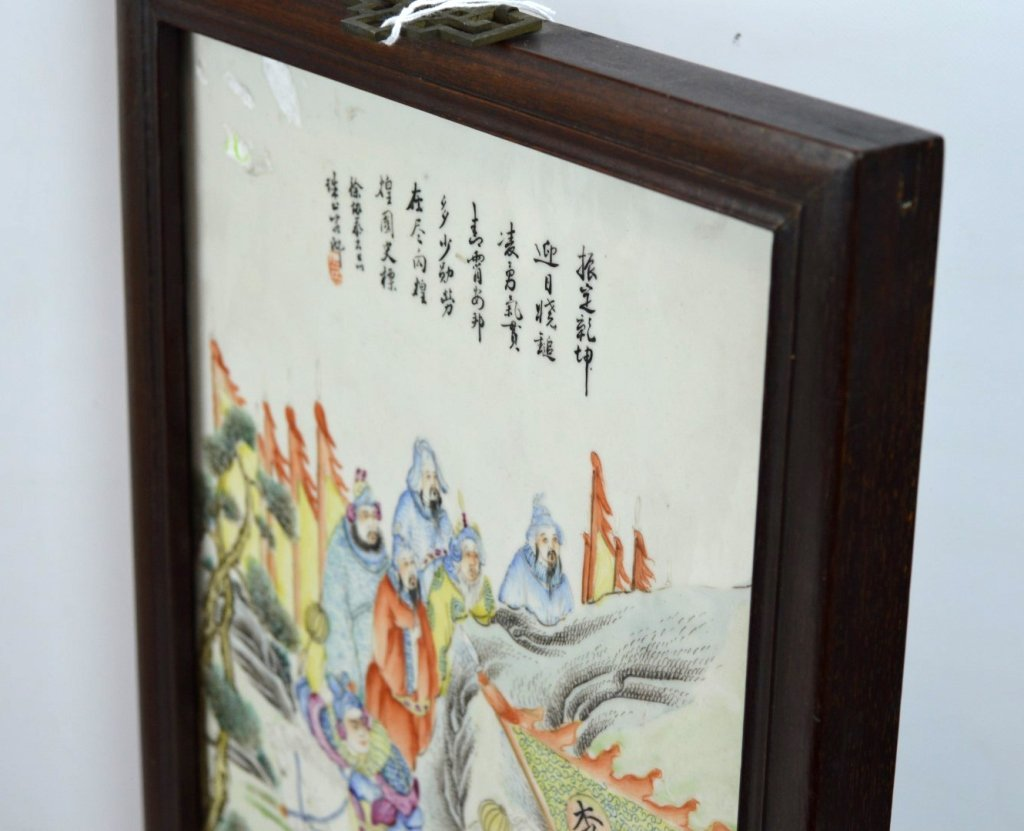 19th C Chinese Enameled Porcelain Warrior Plaque - 6