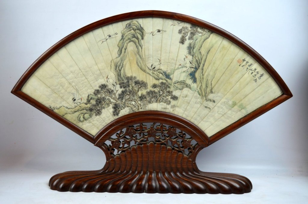 Antique Chinese Ink Painted Fan in Hardwood Stand